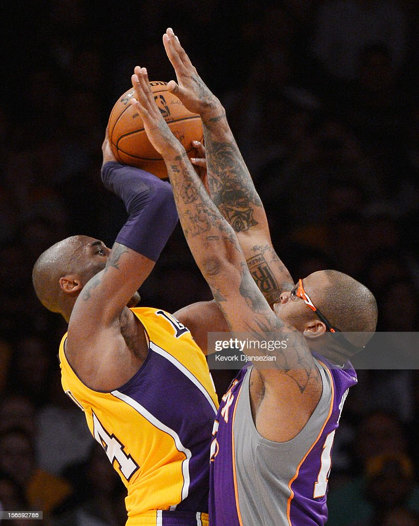 <a gi-track='captionPersonalityLinkClicked' href=/galleries/search?phrase=Kobe+Bryant&family=editorial&specificpeople=201466 ng-click='$event.stopPropagation()'>Kobe Bryant</a> #24 of the Los Angeles Lakers during the basketball game against PJ Tucker #17 of the Phoenix Suns at Staples Center on November 16, 2012 in Los Angeles, California.