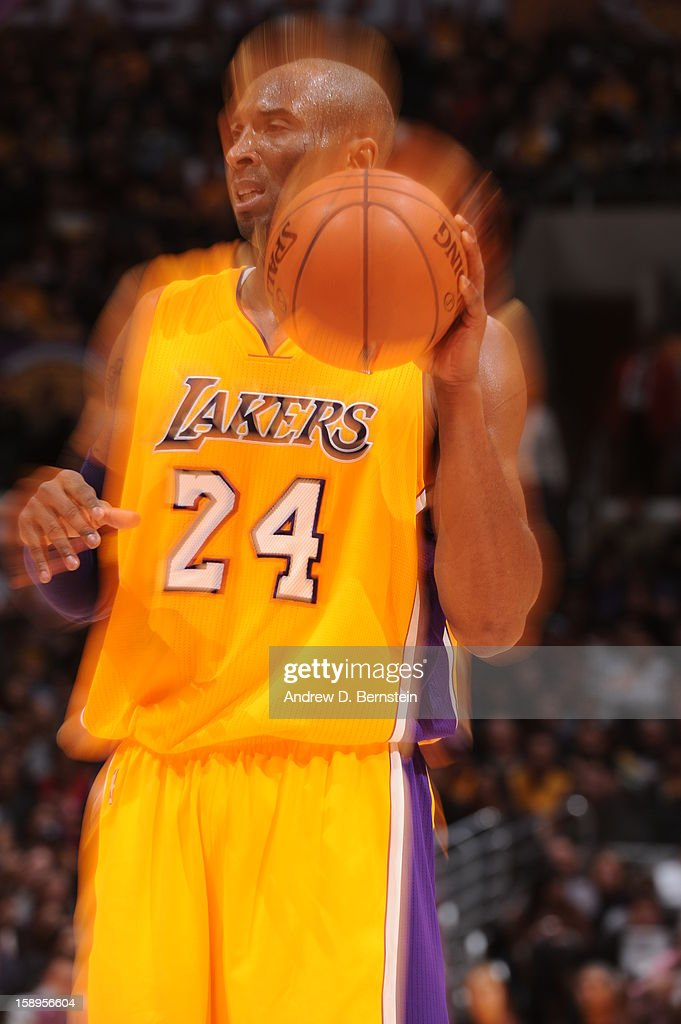 <a gi-track='captionPersonalityLinkClicked' href=/galleries/search?phrase=Kobe+Bryant&family=editorial&specificpeople=201466 ng-click='$event.stopPropagation()'>Kobe Bryant</a> #24 of the Los Angeles Lakers during the game against the Philadelphia 76ers at Staples Center on January 1, 2013 in Los Angeles, California.