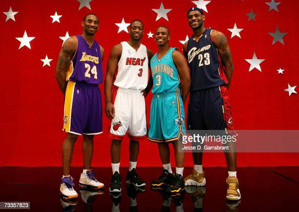 Kobe Bryant of the Los Angeles Lakers Dwyane Wade of the Miami Heat Chris Paul of the New Orleans/Oklahoma City Hornets and LeBron James of the...