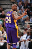 Kobe Bryant of the Los Angeles Lakers gestures in Game Three of the Western Conference Quarterfinals against the Utah Jazz during the 2009 NBA...