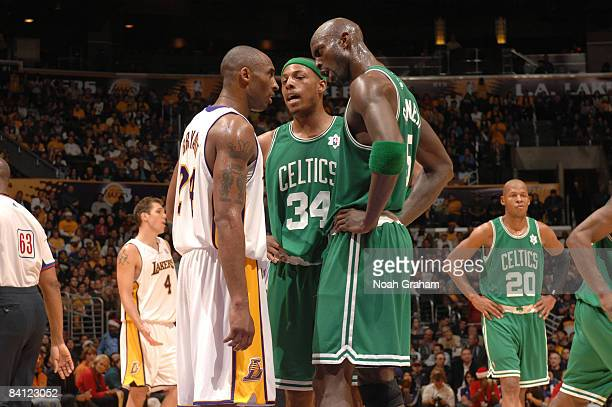 Kobe Bryant of the Los Angeles Lakers gets into an argument with Paul Pierce and Kevin Garnett of the Boston Celtics during their game at Staples...