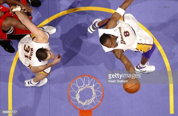 Kobe Bryant of the Los Angeles Lakers gets to the hoop against the Toronto Raptors on January 22 2006 at Staples Center in Los Angeles California...