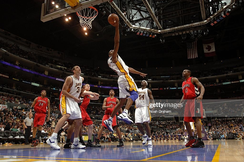 <a gi-track='captionPersonalityLinkClicked' href=/galleries/search?phrase=Kobe+Bryant&family=editorial&specificpeople=201466 ng-click='$event.stopPropagation()'>Kobe Bryant</a> #8 of the Los Angeles Lakers gets to the hoop against the Toronto Raptors on January 22, 2006 at Staples Center in Los Angeles, California. Bryant scored 81 points in the Lakers 122-104 win over the Raptors.