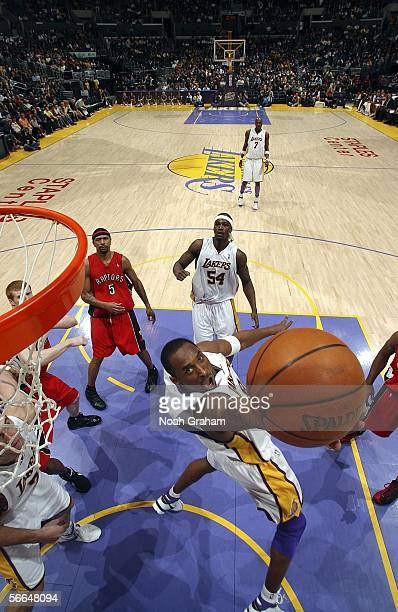 Kobe Bryant of the Los Angeles Lakers goes strong to the hoop against the Toronto Raptors on January 22 2006 at Staples Center in Los Angeles...