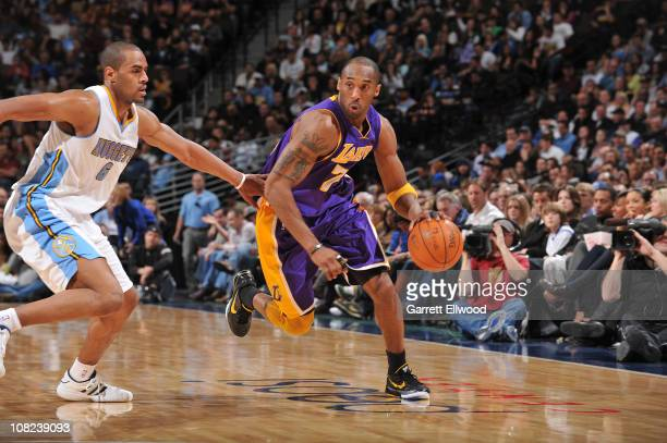 Kobe Bryant of the Los Angeles Lakers goes to the basket against Aaron Afflalo of the Denver Nuggets on January 21 2011 at the Pepsi Center in Denver...