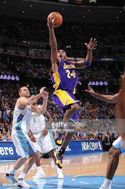 Kobe Bryant of the Los Angeles Lakers goes to the basket against the Denver Nuggets in Game Six of the Western Conference Finals during the 2009 NBA...