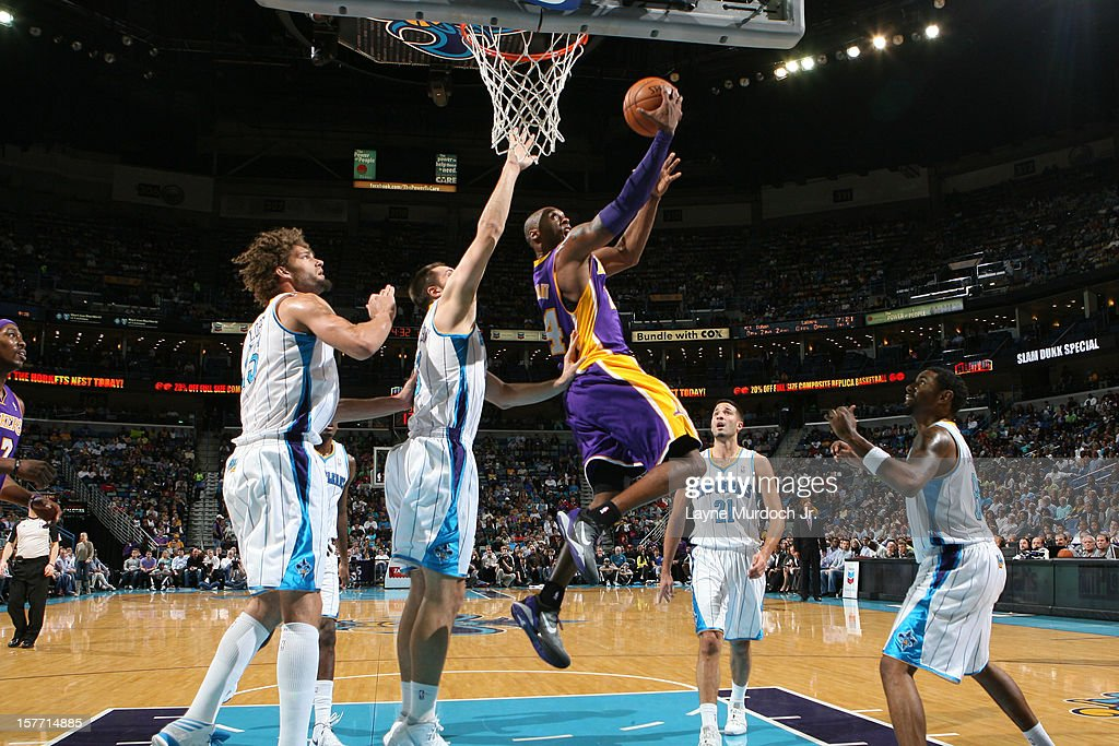 <a gi-track='captionPersonalityLinkClicked' href=/galleries/search?phrase=Kobe+Bryant&family=editorial&specificpeople=201466 ng-click='$event.stopPropagation()'>Kobe Bryant</a> #24 of the Los Angeles Lakers goes to the basket during the game between the New Orleans Hornets and the Los Angeles Lakers on December 5, 2012 at the New Orleans Arena in New Orleans, Louisiana.