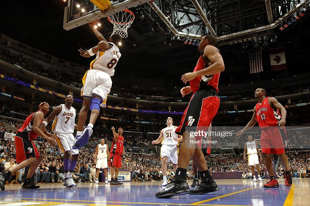 Kobe Bryant of the Los Angeles Lakers goes to the hoop against the Toronto Raptors on January 22 2006 at Staples Center in Los Angeles California...