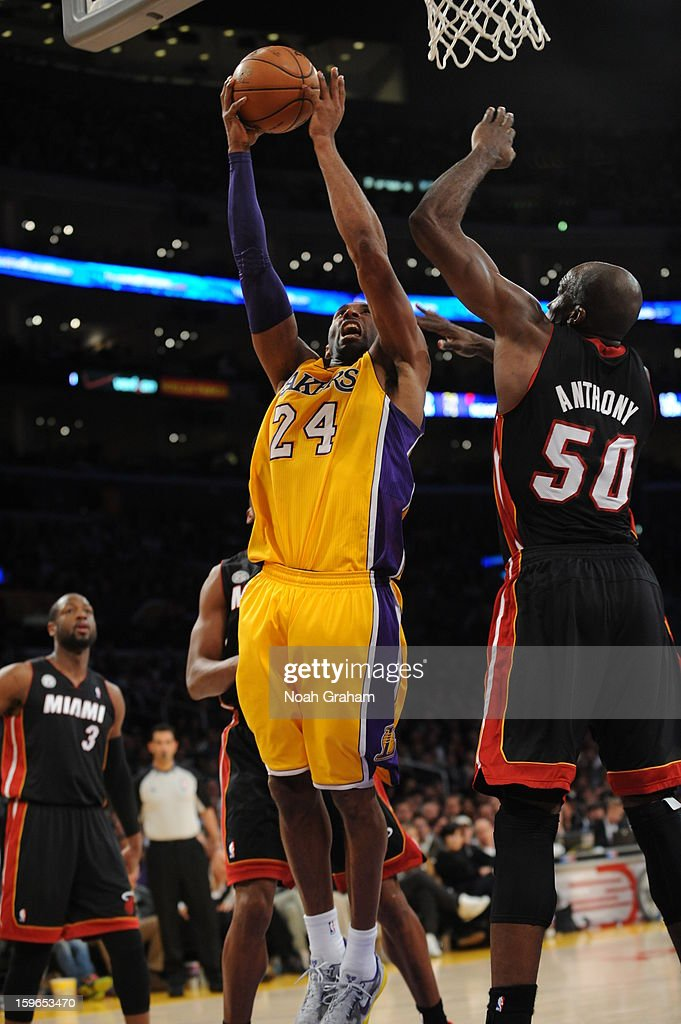 Kobe Bryant #24 of the Los Angeles Lakers goes up for a shot against Joel Anthony #50 of the Miami Heat at Staples Center on January 15, 2013 in Los Angeles, California.