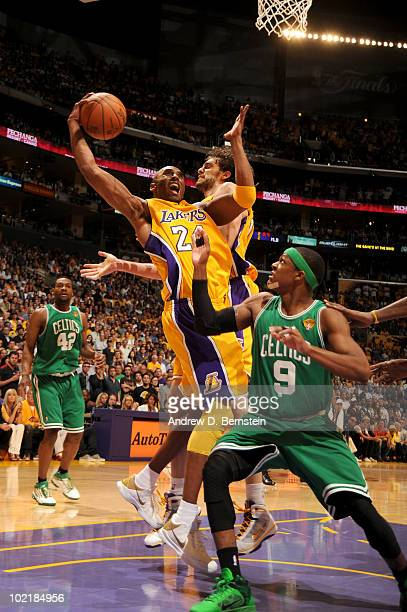 Kobe Bryant of the Los Angeles Lakers goes up for a shot against Rajon Rondo of the Boston Celtics in Game Seven of the 2010 NBA Finals on June 17...