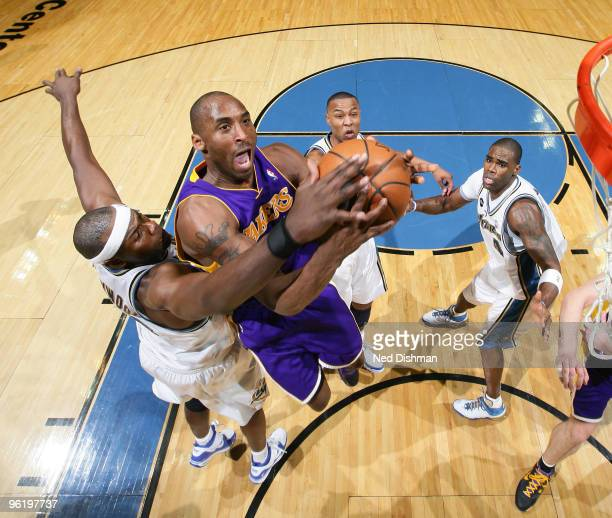 Kobe Bryant of the Los Angeles Lakers goes up for a shot against Brendan Haywood of the Washington Wizards at the Verizon Center on January 26 2010...