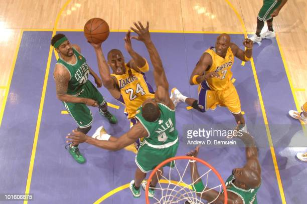 Kobe Bryant of the Los Angeles Lakers goes up for a shot against Rasheed Wallace and Tony Allen of the Boston Celtics in Game One of the 2010 NBA...