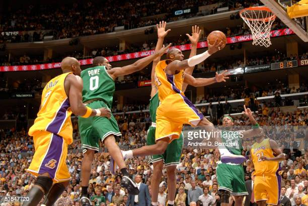 Kobe Bryant of the Los Angeles Lakers goes up for a shot against the Boston Celtics in Game Four of the 2008 NBA Finals at Staples Center June 12...