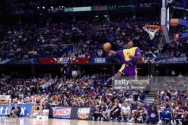 Kobe Bryant of the Los Angeles Lakers goes up for one of his slam dunks that won first place in the NBA AllStar Slam Dunk Contest at Gund Arena on...