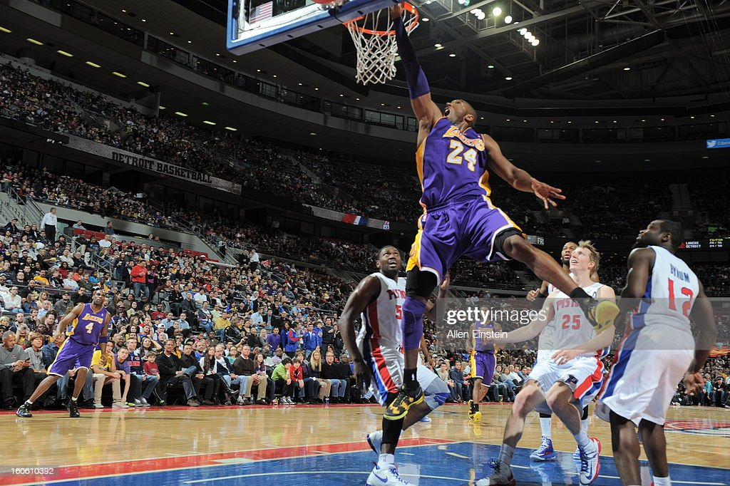 Kobe Bryant #24 of the Los Angeles Lakers goes up for the dunk in traffic against the Detroit Pistons during the game on February 3, 2013 at The Palace of Auburn Hills in Auburn Hills, Michigan.