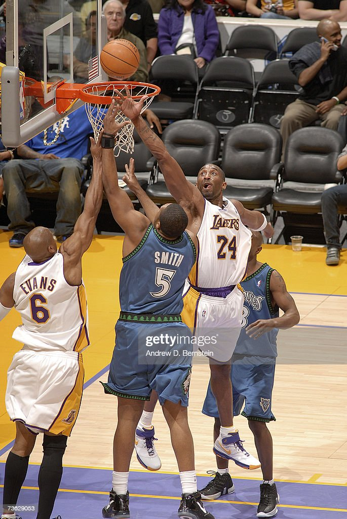 Kobe Bryant of the Los Angeles Lakers goes up to block a shot against Craig Smith of the Minnesota Timberwolves on March 18 2007 at Staples Center in...