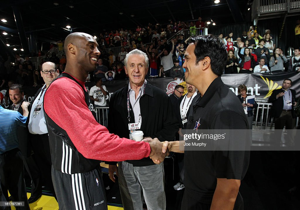 Kobe Bryant #24 of the Los Angeles Lakers greets Erik Spoelstra head coach of the Miami Heat and Pat Riley general manager of the Miami Heat during the NBA All-Star Practice in Sprint Arena during the 2013 NBA All-Star Weekend on February 16, 2013 at the George R. Brown Convention Center in Houston, Texas.