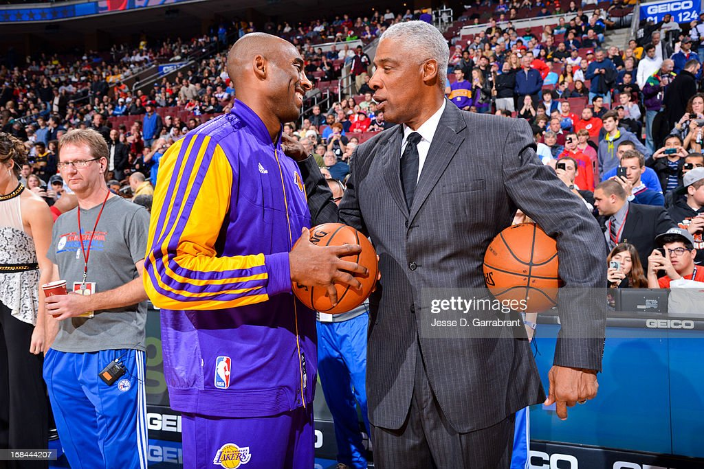 Kobe Bryant #24 of the Los Angeles Lakers greets NBA legend Julius Erving before playing against the Philadelphia 76ers at the Wells Fargo Center on December 16, 2012 in Philadelphia, Pennsylvania.