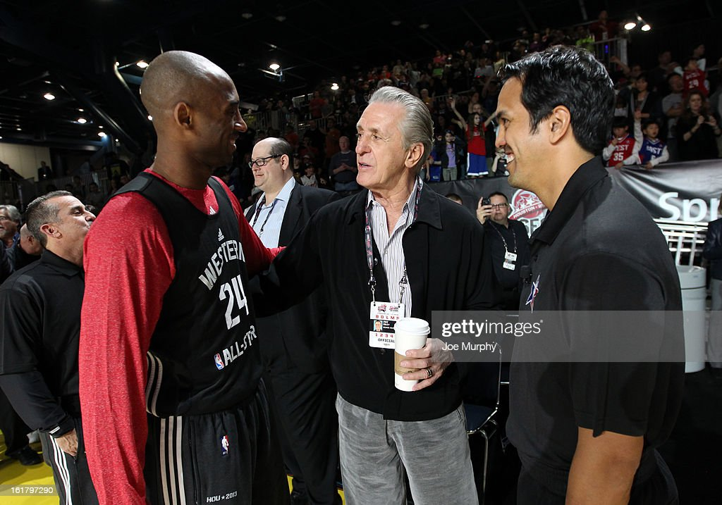 Kobe Bryant #24 of the Los Angeles Lakers greets Pat Riley general manager of the Miami Heat and Erik Spoelstra head coach of the Miami Heat during the NBA All-Star Practice in Sprint Arena during the 2013 NBA All-Star Weekend on February 16, 2013 at the George R. Brown Convention Center in Houston, Texas.