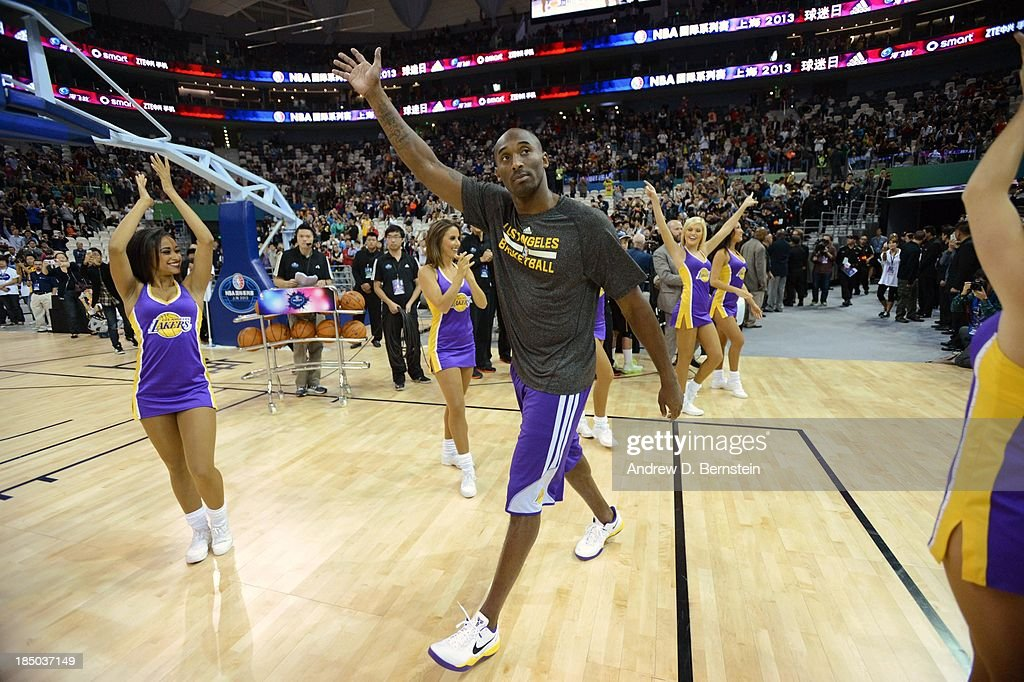 <a gi-track='captionPersonalityLinkClicked' href=/galleries/search?phrase=Kobe+Bryant&family=editorial&specificpeople=201466 ng-click='$event.stopPropagation()'>Kobe Bryant</a> of the Los Angeles Lakers greets the fans during Fan Appreciation Day as part of the 2013 Global Games on October 17, 2013 at the Oriental Sports Center in Shanghai, China.