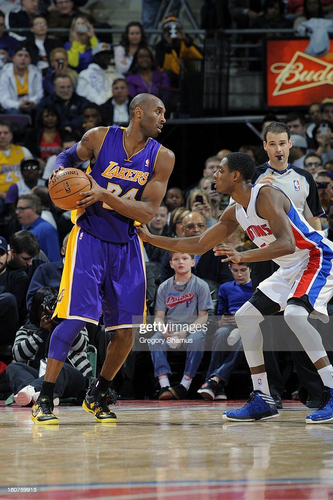 <a gi-track='captionPersonalityLinkClicked' href=/galleries/search?phrase=Kobe+Bryant&family=editorial&specificpeople=201466 ng-click='$event.stopPropagation()'>Kobe Bryant</a> #24 of the Los Angeles Lakers handles the ball against Brandon Knight #7 of the Detroit Pistons on February 3, 2013 at The Palace of Auburn Hills in Auburn Hills, Michigan.
