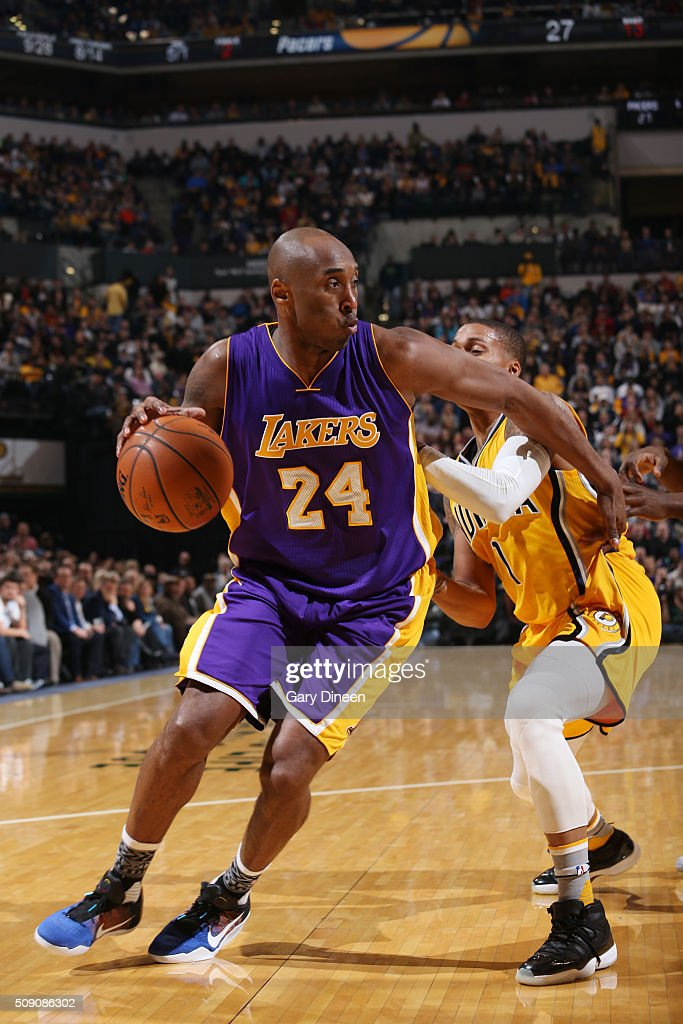 <a gi-track='captionPersonalityLinkClicked' href=/galleries/search?phrase=Kobe+Bryant&family=editorial&specificpeople=201466 ng-click='$event.stopPropagation()'>Kobe Bryant</a> #24 of the Los Angeles Lakers handles the ball against the Indiana Pacerson February 8, 2016 at Bankers Life Fieldhouse in Indianapolis, Indiana.