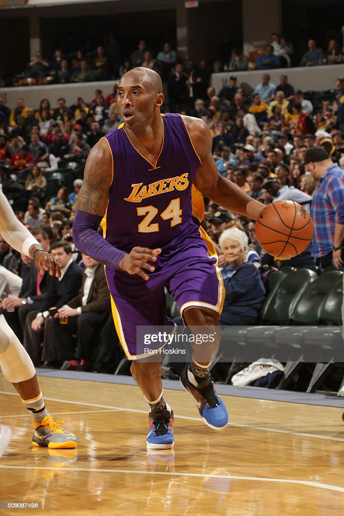 <a gi-track='captionPersonalityLinkClicked' href=/galleries/search?phrase=Kobe+Bryant&family=editorial&specificpeople=201466 ng-click='$event.stopPropagation()'>Kobe Bryant</a> #24 of the Los Angeles Lakers handles the ball against the Indiana Pacers on February 8, 2016 at Bankers Life Fieldhouse in Indianapolis, Indiana.
