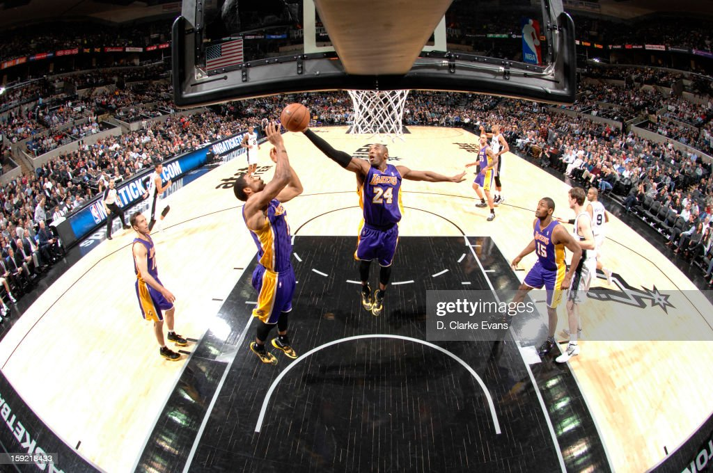<a gi-track='captionPersonalityLinkClicked' href=/galleries/search?phrase=Kobe+Bryant&family=editorial&specificpeople=201466 ng-click='$event.stopPropagation()'>Kobe Bryant</a> #24 of the Los Angeles Lakers handles the ball during the game between the Los Angeles Lakers and the San Antonio Spurs on January 9, 2013 at the AT&T Center in San Antonio, Texas.