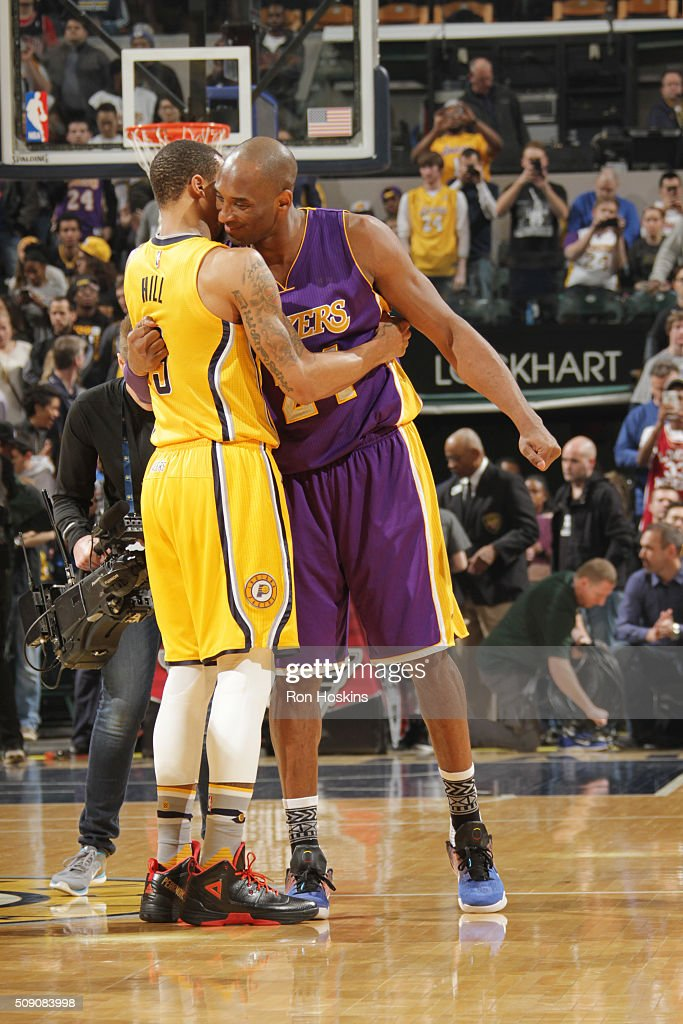 <a gi-track='captionPersonalityLinkClicked' href=/galleries/search?phrase=Kobe+Bryant&family=editorial&specificpeople=201466 ng-click='$event.stopPropagation()'>Kobe Bryant</a> #24 of the Los Angeles Lakers hugs <a gi-track='captionPersonalityLinkClicked' href=/galleries/search?phrase=George+Hill+-+Basketball+Player&family=editorial&specificpeople=6831399 ng-click='$event.stopPropagation()'>George Hill</a> #3 of the Indiana Pacers before the game on February 8, 2016 at Bankers Life Fieldhouse in Indianapolis, Indiana.