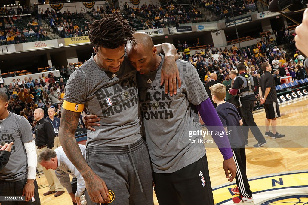 <a gi-track='captionPersonalityLinkClicked' href=/galleries/search?phrase=Kobe+Bryant&family=editorial&specificpeople=201466 ng-click='$event.stopPropagation()'>Kobe Bryant</a> #24 of the Los Angeles Lakers hugs <a gi-track='captionPersonalityLinkClicked' href=/galleries/search?phrase=Jordan+Hill+-+Basketball+Player&family=editorial&specificpeople=13503530 ng-click='$event.stopPropagation()'>Jordan Hill</a> #27 of the Indiana Pacers before the game on February 8, 2016 at Bankers Life Fieldhouse in Indianapolis, Indiana.