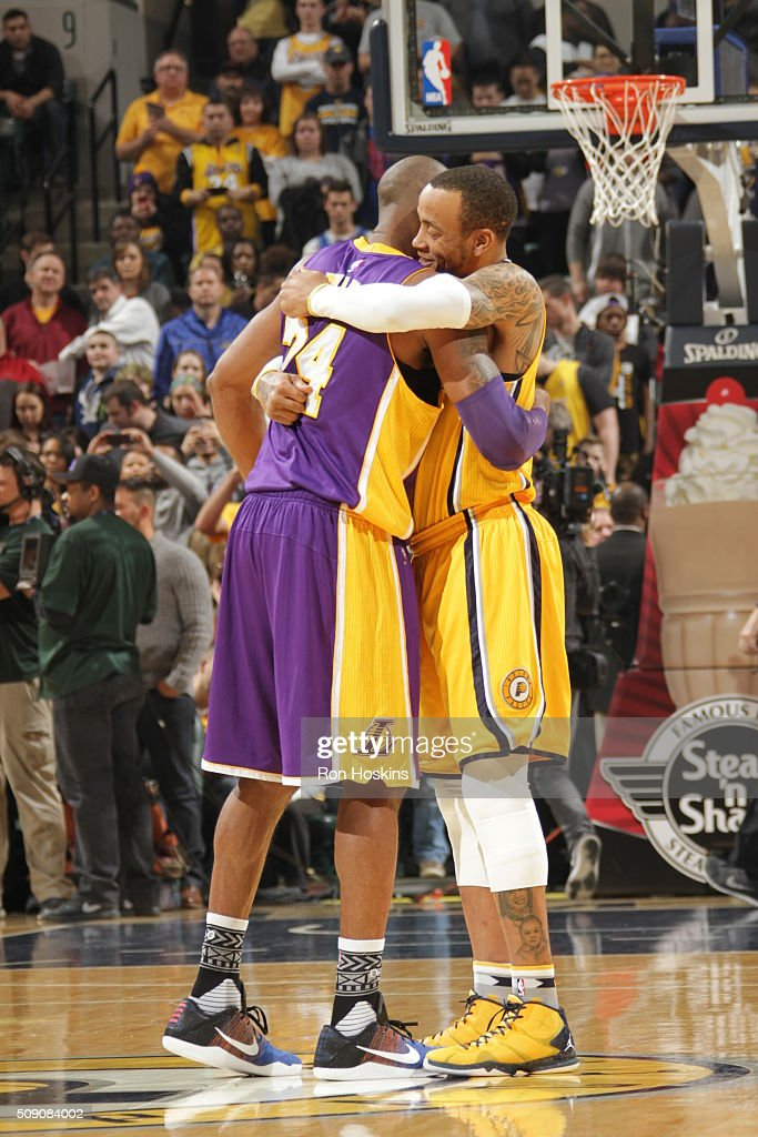 <a gi-track='captionPersonalityLinkClicked' href=/galleries/search?phrase=Kobe+Bryant&family=editorial&specificpeople=201466 ng-click='$event.stopPropagation()'>Kobe Bryant</a> #24 of the Los Angeles Lakers hugs <a gi-track='captionPersonalityLinkClicked' href=/galleries/search?phrase=Monta+Ellis&family=editorial&specificpeople=567403 ng-click='$event.stopPropagation()'>Monta Ellis</a> #11 of the Indiana Pacers before the game on February 8, 2016 at Bankers Life Fieldhouse in Indianapolis, Indiana.