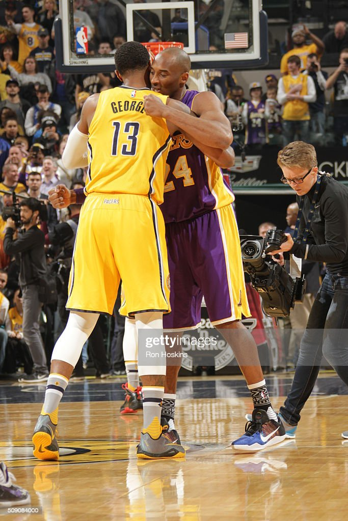 <a gi-track='captionPersonalityLinkClicked' href=/galleries/search?phrase=Kobe+Bryant&family=editorial&specificpeople=201466 ng-click='$event.stopPropagation()'>Kobe Bryant</a> #24 of the Los Angeles Lakers hugs <a gi-track='captionPersonalityLinkClicked' href=/galleries/search?phrase=Paul+George+-+Basketball+Player&family=editorial&specificpeople=7235030 ng-click='$event.stopPropagation()'>Paul George</a> #13 of the Indiana Pacers before the game on February 8, 2016 at Bankers Life Fieldhouse in Indianapolis, Indiana.