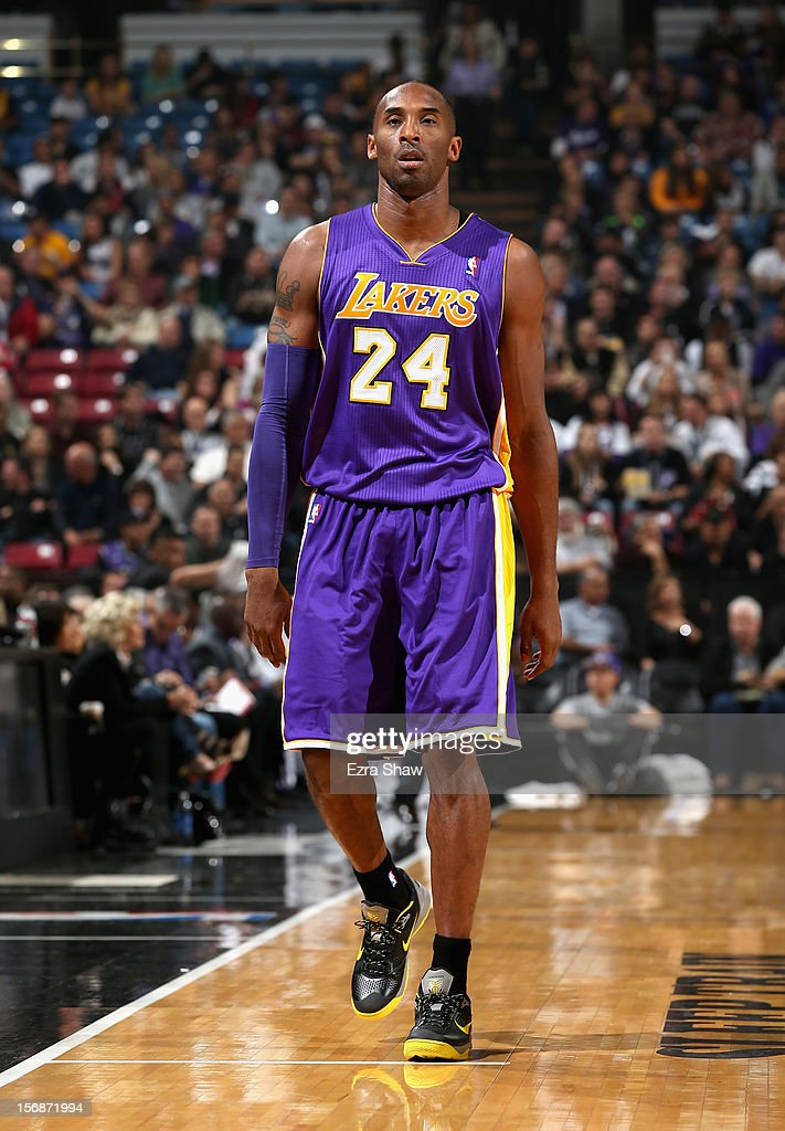 Kobe Bryant #24 of the Los Angeles Lakers in action against the Sacramento Kings at Power Balance Pavilion on November 21, 2012 in Sacramento, California.
