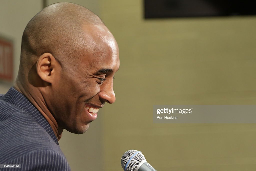<a gi-track='captionPersonalityLinkClicked' href=/galleries/search?phrase=Kobe+Bryant&family=editorial&specificpeople=201466 ng-click='$event.stopPropagation()'>Kobe Bryant</a> #24 of the Los Angeles Lakers is interviewed before the game against the Indiana Pacers on February 8, 2016 at Bankers Life Fieldhouse in Indianapolis, Indiana.