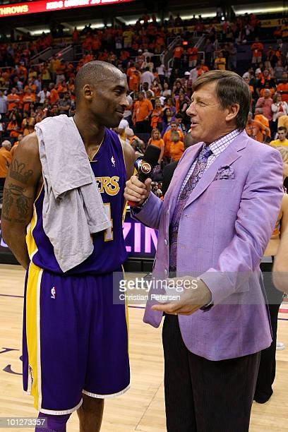 Kobe Bryant of the Los Angeles Lakers is interviewed by Craig Sager after defeating the Phoenix Suns 111103 in Game Six of the Western Conference...
