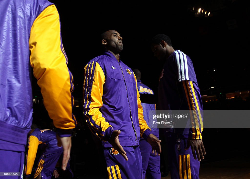 Kobe Bryant #24 of the Los Angeles Lakers is introduced before their game against the Sacramento Kings at Power Balance Pavilion on November 21, 2012 in Sacramento, California.