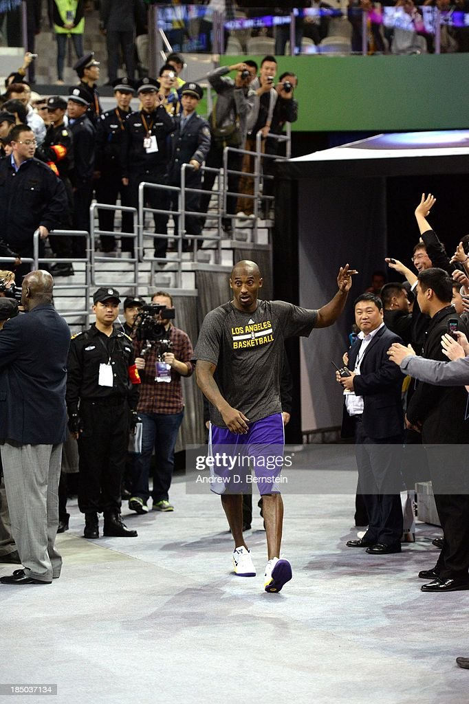 Kobe Bryant of the Los Angeles Lakers is introduced during Fan Appreciation Day as part of the 2013 Global Games on October 17, 2013 at the Oriental Sports Center in Shanghai, China.