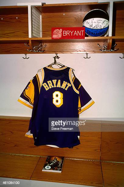Kobe Bryant of the Los Angeles Lakers jersey hangs during the 1998 NBA AllStar Game played on February 8 1998 at Madison Square Garden in New York...