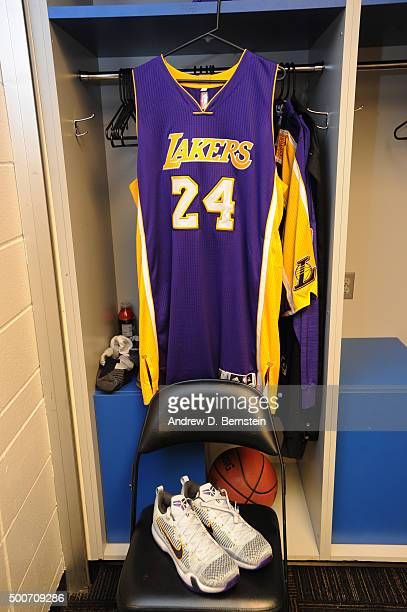 Kobe Bryant of the Los Angeles Lakers jersey hangs in the locker room before the game against the Minnesota Timberwolves on December 9 2015 at Target...
