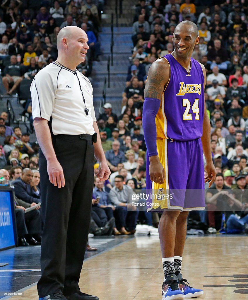 <a gi-track='captionPersonalityLinkClicked' href=/galleries/search?phrase=Kobe+Bryant&family=editorial&specificpeople=201466 ng-click='$event.stopPropagation()'>Kobe Bryant</a> #24 of the Los Angeles Lakers jokes with official Gary Zielinski at AT&T Center on February 6, 2016 in San Antonio, Texas.