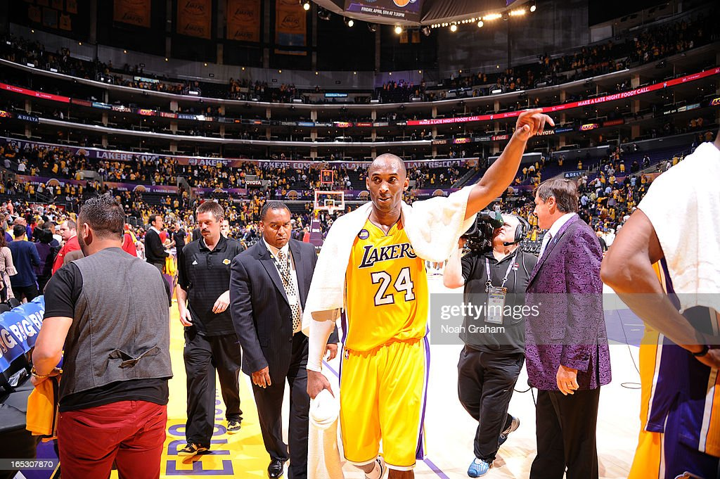 Kobe Bryant #24 of the Los Angeles Lakers leaves the court following his team's victory over the Dallas Mavericks at Staples Center on April 2, 2013 in Los Angeles, California.