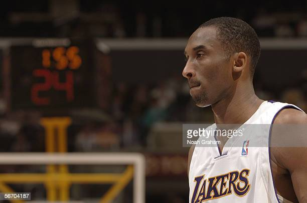 Kobe Bryant of the Los Angeles Lakers looks on against the Toronto Raptors on January 22 2006 at Staples Center in Los Angeles California Bryant...