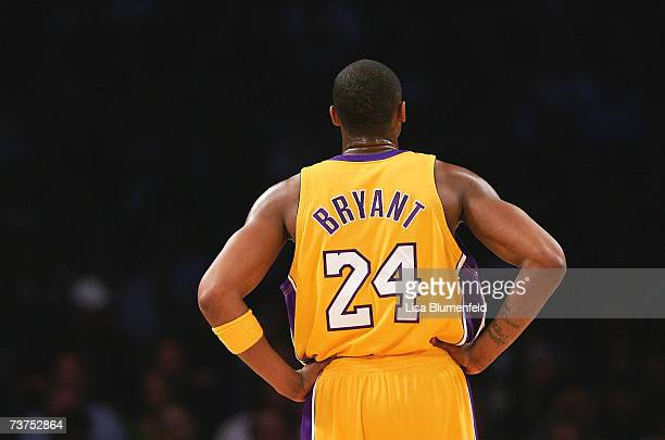 Kobe Bryant of the Los Angeles Lakers looks on during a freethrow in the first half against the Houston Rockets at Staples Center on March 30 2007 in...