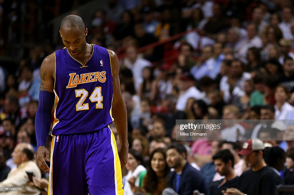 Kobe Bryant #24 of the Los Angeles Lakers looks on during a game against the Miami Heat at American Airlines Arena on February 10, 2013 in Miami, Florida.