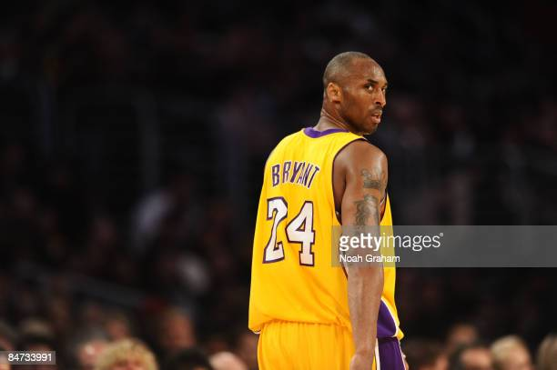 Kobe Bryant of the Los Angeles Lakers looks on during a game against the Oklahoma City Thunder at Staples Center on February 10 2009 in Los Angeles...