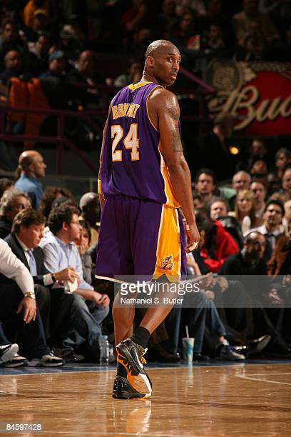 Kobe Bryant of the Los Angeles Lakers looks over his shoulder during game against the New York Knicks on February 2 2009 at Madison Square Garden in...