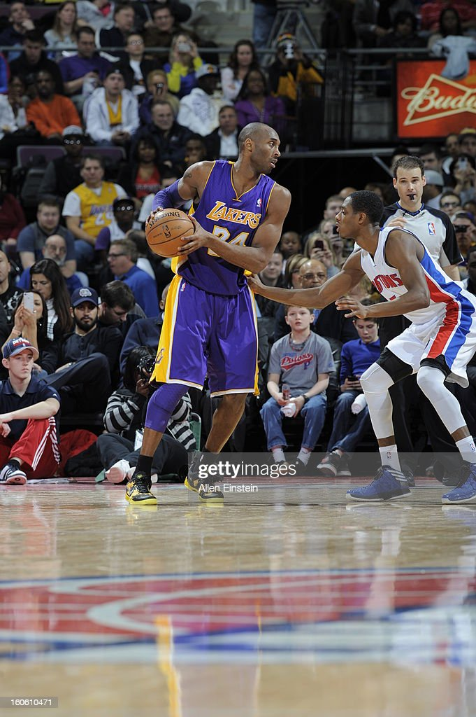 Kobe Bryant #24 of the Los Angeles Lakers looks to make his move against the Detroit Pistons during the game on February 3, 2013 at The Palace of Auburn Hills in Auburn Hills, Michigan.