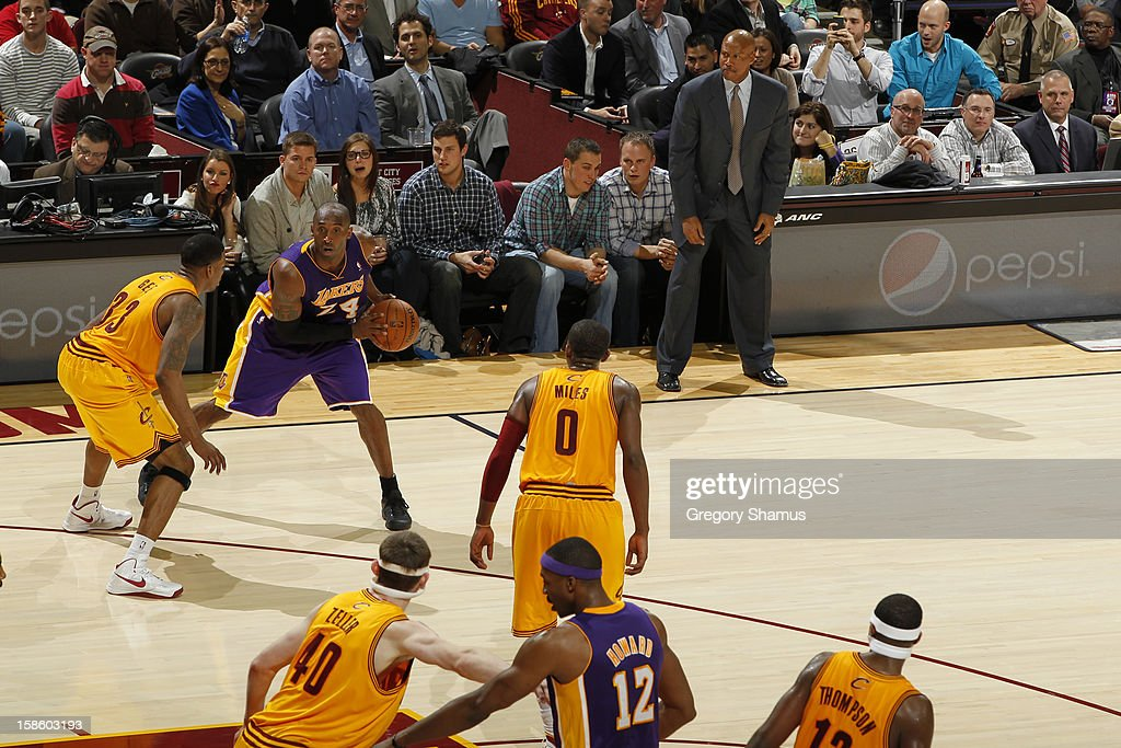 <a gi-track='captionPersonalityLinkClicked' href=/galleries/search?phrase=Kobe+Bryant&family=editorial&specificpeople=201466 ng-click='$event.stopPropagation()'>Kobe Bryant</a> #24 of the Los Angeles Lakers looks to pass the ball against the Cleveland Cavaliers at The Quicken Loans Arena on December 11, 2012 in Cleveland, Ohio.