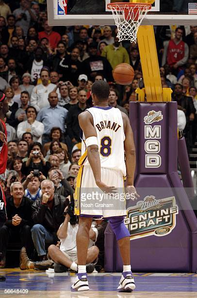 Kobe Bryant of the Los Angeles Lakers makes a free throw for his 81st point against the Toronto Raptors on January 22 2006 at Staples Center in Los...
