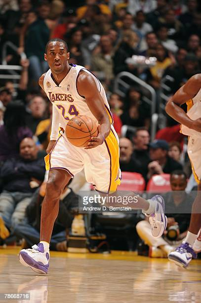 Kobe Bryant of the Los Angeles Lakers moves the ball against the Los Angeles Clippers during the game at Staples Center on December 16 2007 in Los...